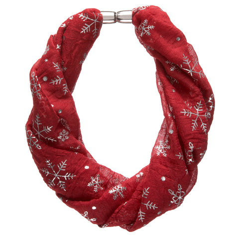 Red Metallic Snowflake Magnetic Necklace Scarf