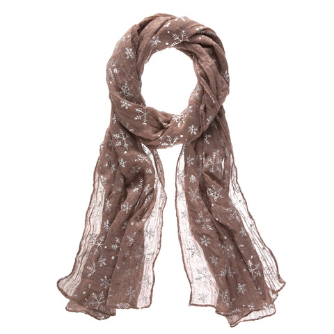 Metallic Snowflake Print Winter Scarf
