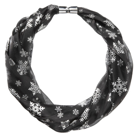 Black Shimmer Metallic Snowflake Print Magnetic Scarf Necklace