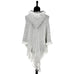 White Grey Textured Knit Hooded Fringe Shawl Sweater Poncho Savvy Chic Boutique Cleveland Ohio