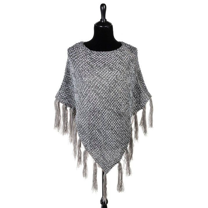 Grey Silver Metallic Lurex Fringe Knit Poncho Shawl Sweater Savvy Chic Boutique Cleveland Ohio
