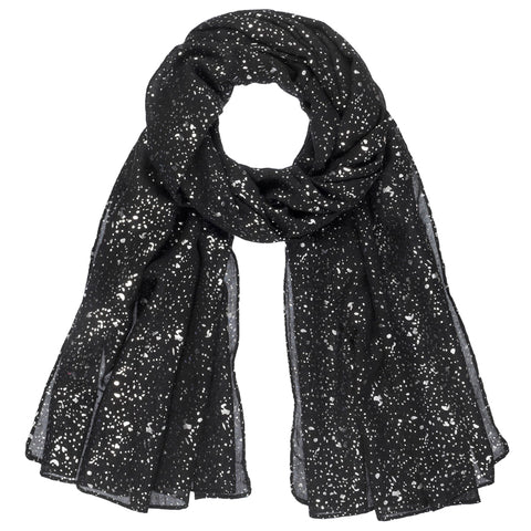 Black Silver Metallic Speckled Scarf