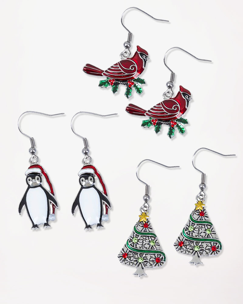 Christmas Holiday Earrings Gift Cardinal Penguin Christmas Tree Polar Bear Wine Glass Snowflake Savvy Chic Boutique Cleveland Ohio