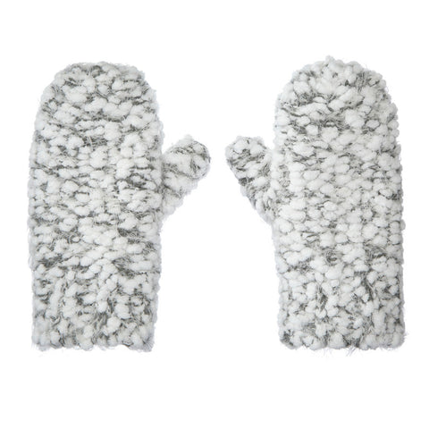White Grey Chunky Knit Mittens