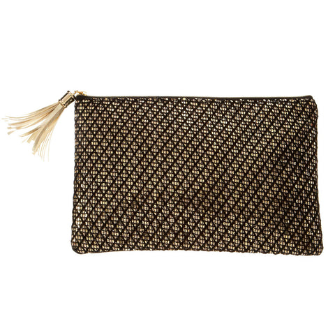 Gold Sequins Black Faux Leather Evening Clutch