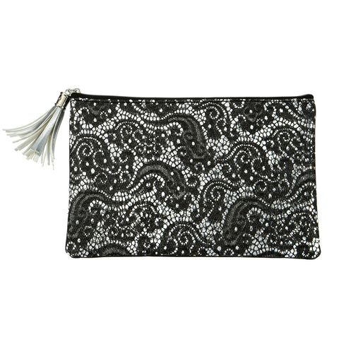Silver Metallic Black Faux Leather Evening Clutch