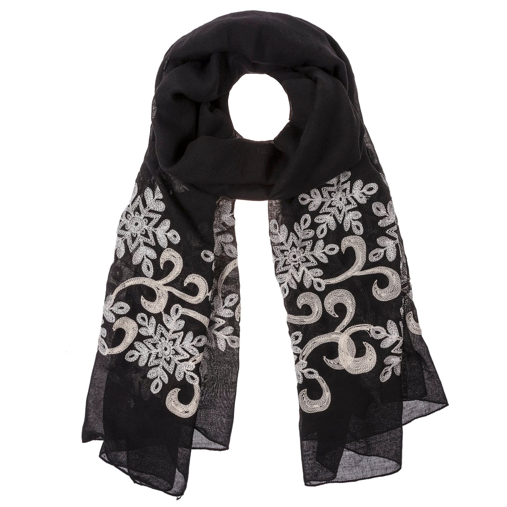 Embroidered Snowflake Scarf - Black