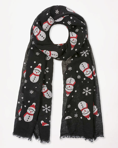 Christmas Holiday Grey Black Snowman Snowflake Print Scarf Gift Winter Accessory Savvy Chic Boutique Cleveland Ohio