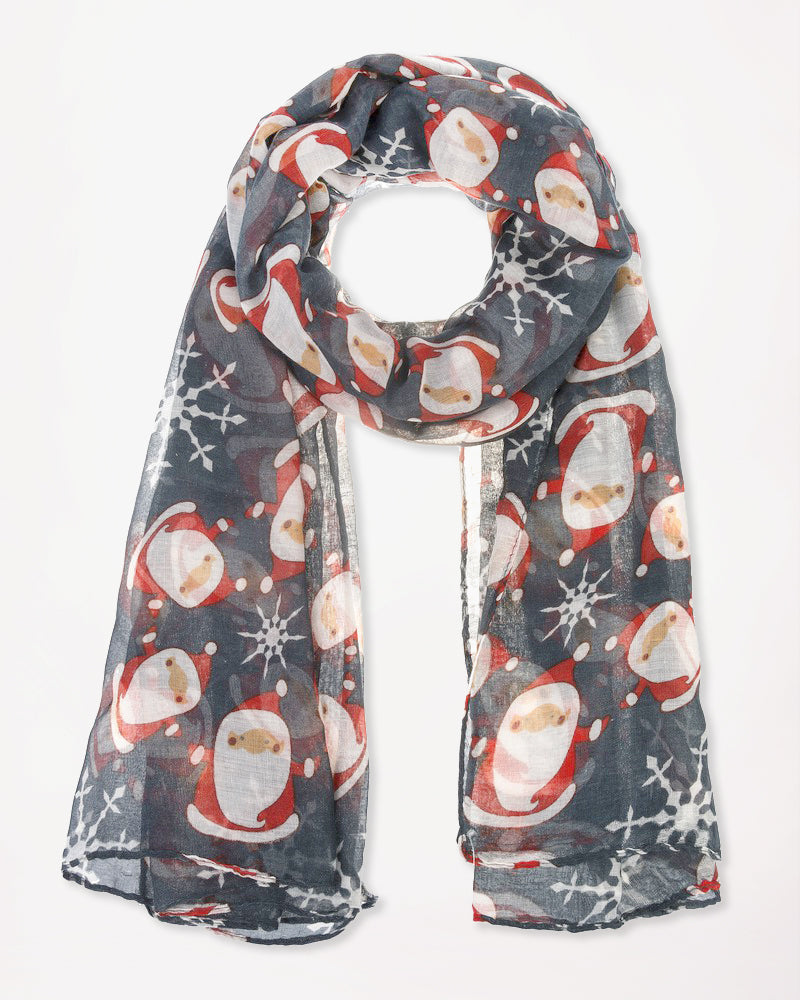 Christmas Holiday Santa Snowflake Print Scarf Winter Accessory Gift Savvy Chic Boutique Cleveland