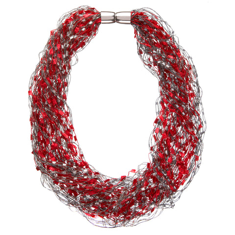 Red Silver Confetti Magnetic Necklace Scarf