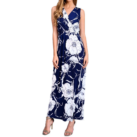 Navy White Floral Maxi Dress