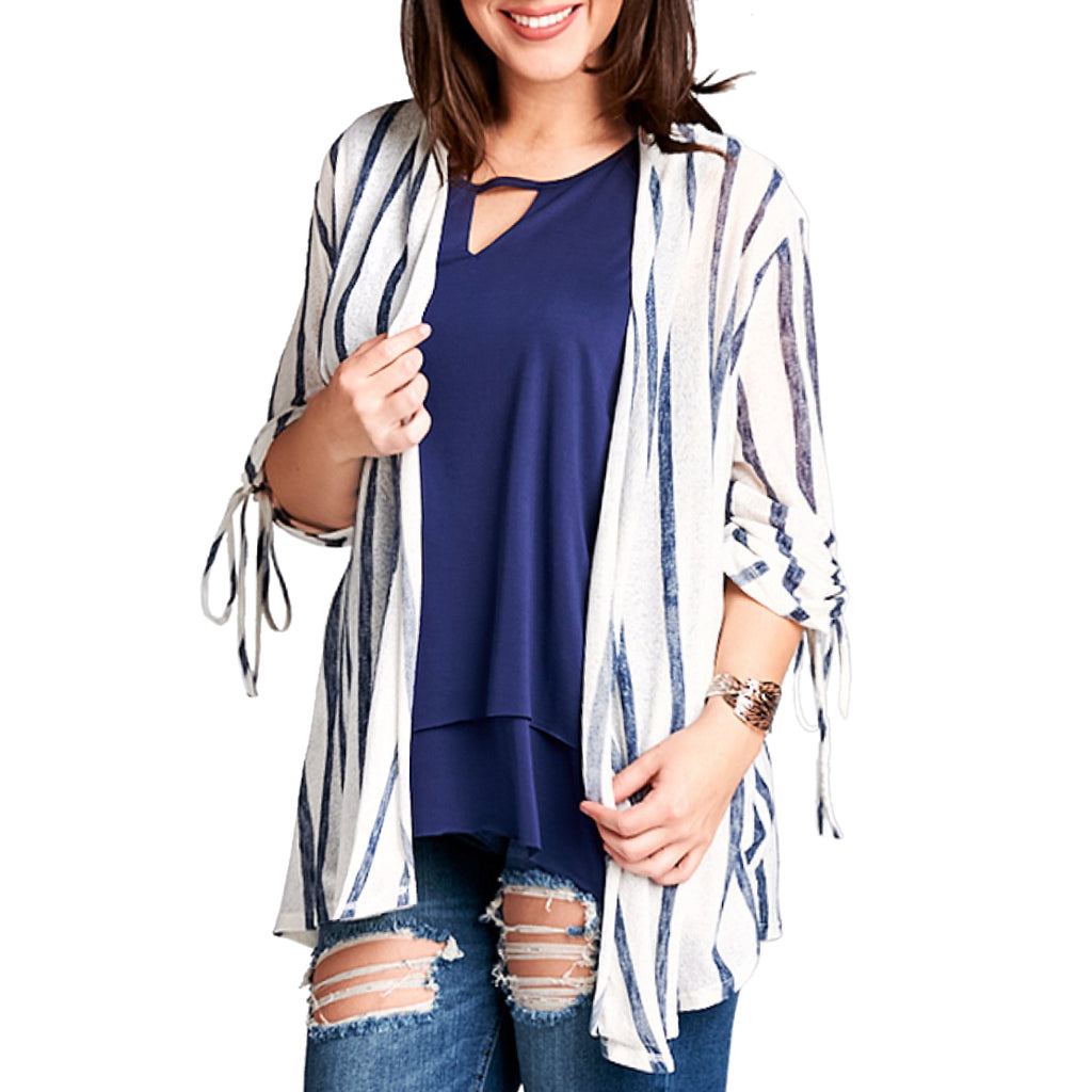 Hummingbird White Navy Vertical Stripe Print Tie Sleeve Cardigan Savvy Chic Boutique Cleveland Ohio