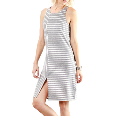 Hem & Thread Grey White Stripe Slit Dress