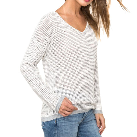 Hem & Thread Textured White V Neck Long Sleeve Sweater