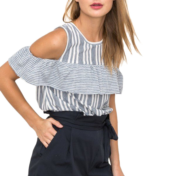 Hem & Thread Blue White Stripe Ruffle Cold Shoulder Top Savvy Chic Boutique Cleveland Ohio
