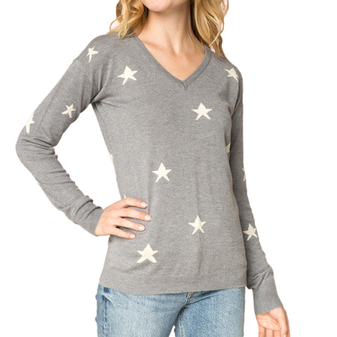 Hem & Thread Grey Knit Star Print V Neck Sweater Savvy Chic Boutique Cleveland Ohio