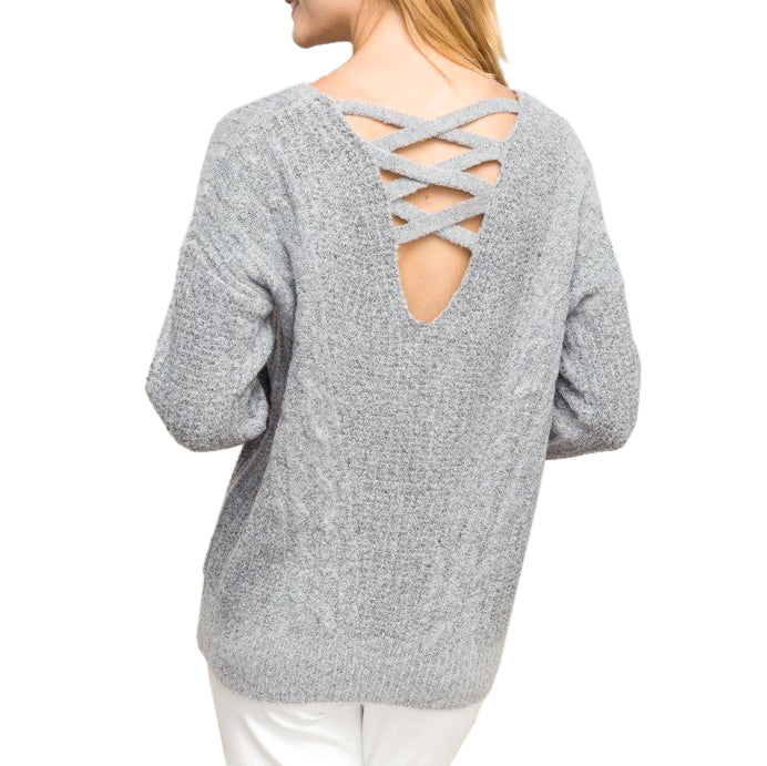 27990e3f642d56 Hem & Thread Grey Cable Knit Criss Cross Back Sweater Savvy Chic Boutique  Cleveland Ohio