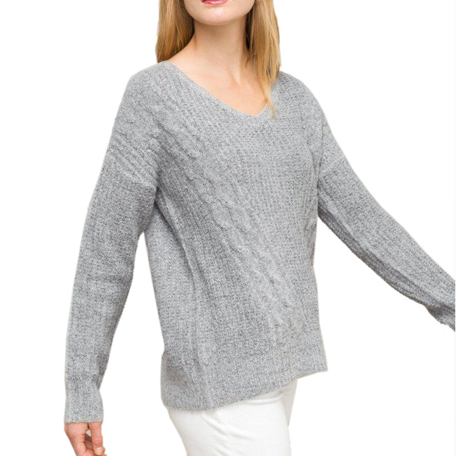 6ebfafe5f5c40c ... Hem & Thread Grey Cable Knit Criss Cross Back Sweater Savvy Chic  Boutique Cleveland Ohio ...
