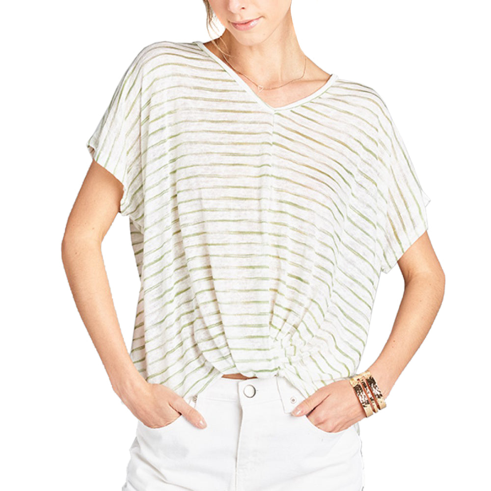 Hummingbird Olive Green Stripe Tee T Shirt Top Bunched Hem V Neck Savvy Chic Boutique Cleveland Ohio