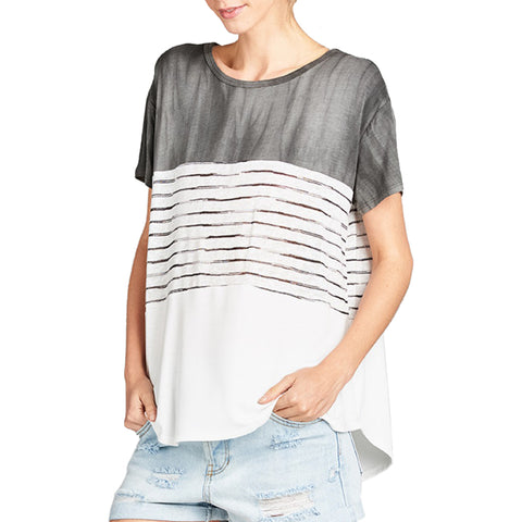 Hummingbird White Black Color Block Stripe Short Sleeve Tee T Shirt Top Savvy Chic Boutique Cleveland Ohio