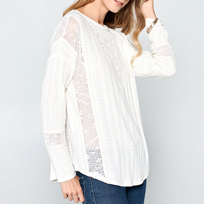 Hummingbird White Long Sleeve Sheer Lace Mesh Knit Top Savvy Chic Boutique Cleveland Ohio