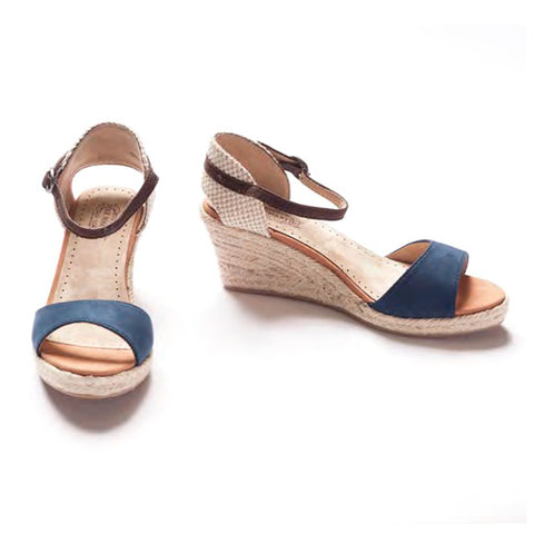 Pink Martini High Park Wedge Navy Espadrille Sandal