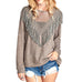 Taupe Sheer Mesh Fringe Sweater
