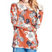 Rust Orange Floral Print Long Dolman Sleeve Boatneck Sweater