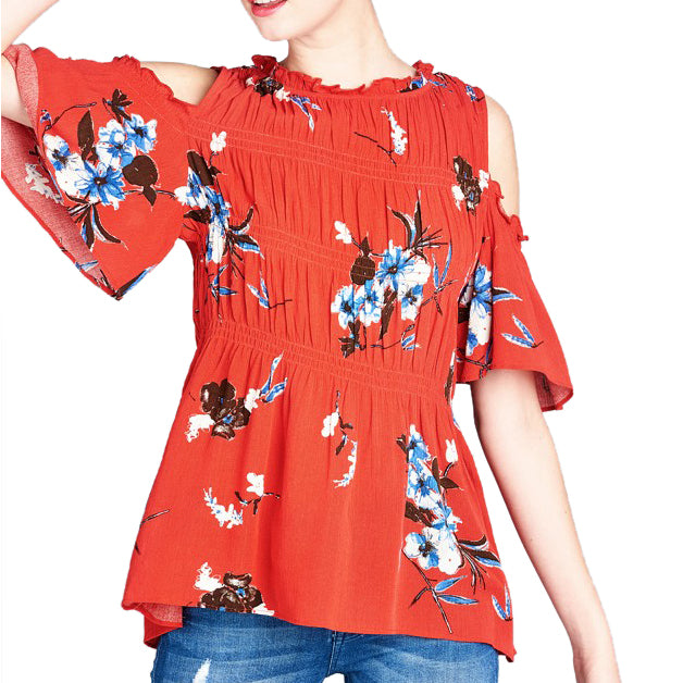 Oddi Cold Shoulder Cut Out Red Floral Print Fit and Flare Top Savvy Chic Boutique Cleveland Ohio