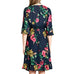 Oddi Kokomo Dress Navy Tropical Floral Print Faux Wrap 3/4 Sleeve Dress Savvy Chic Boutique Cleveland Ohio