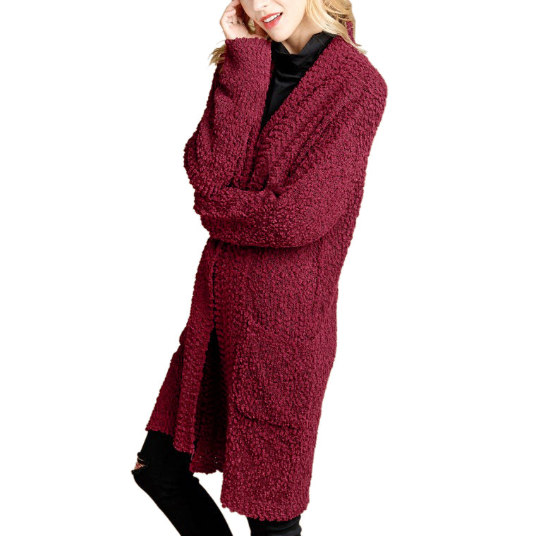 Oddi Red Burgundy Popcorn Knit Long Sweater Cardigan Savvy Chic Boutique Cleveland Ohio
