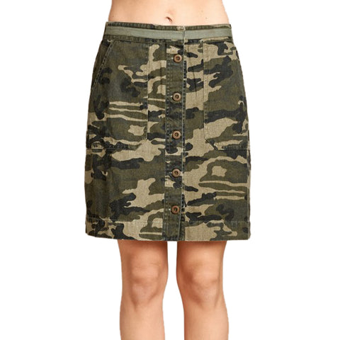 Oddi Camo Camouflage Army Green Button Down Skirt Savvy Chic Boutique Cleveland Ohio