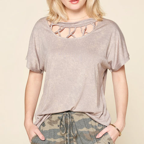 Oddi Taupe Lattice Cutout Washed Tee T Shirt Top Savvy Chic Boutique Cleveland Ohio