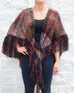Orange Black Olive White Plaid Print Knit Fringe Shawl Poncho Savvy Chic Boutique Cleveland Ohio