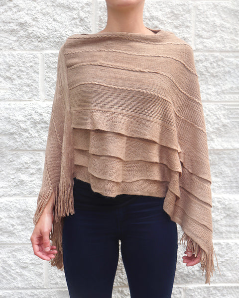 Tan Brown Ruffle Fringe Knit Poncho Sweater Shawl Savvy Chic Boutique Cleveland Ohio