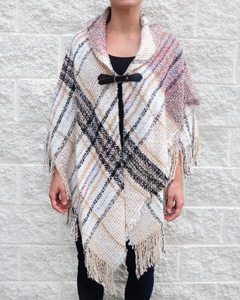 Ivory Orange Black Plaid Knit Poncho Shawl Buckle Fringe Sweater Savvy Chic Boutique Cleveland Ohio