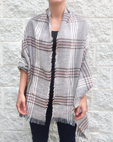 Grey Pink Plaid Print Knit Fringe Shawl Scarf Savvy Chic Boutique Cleveland Ohio