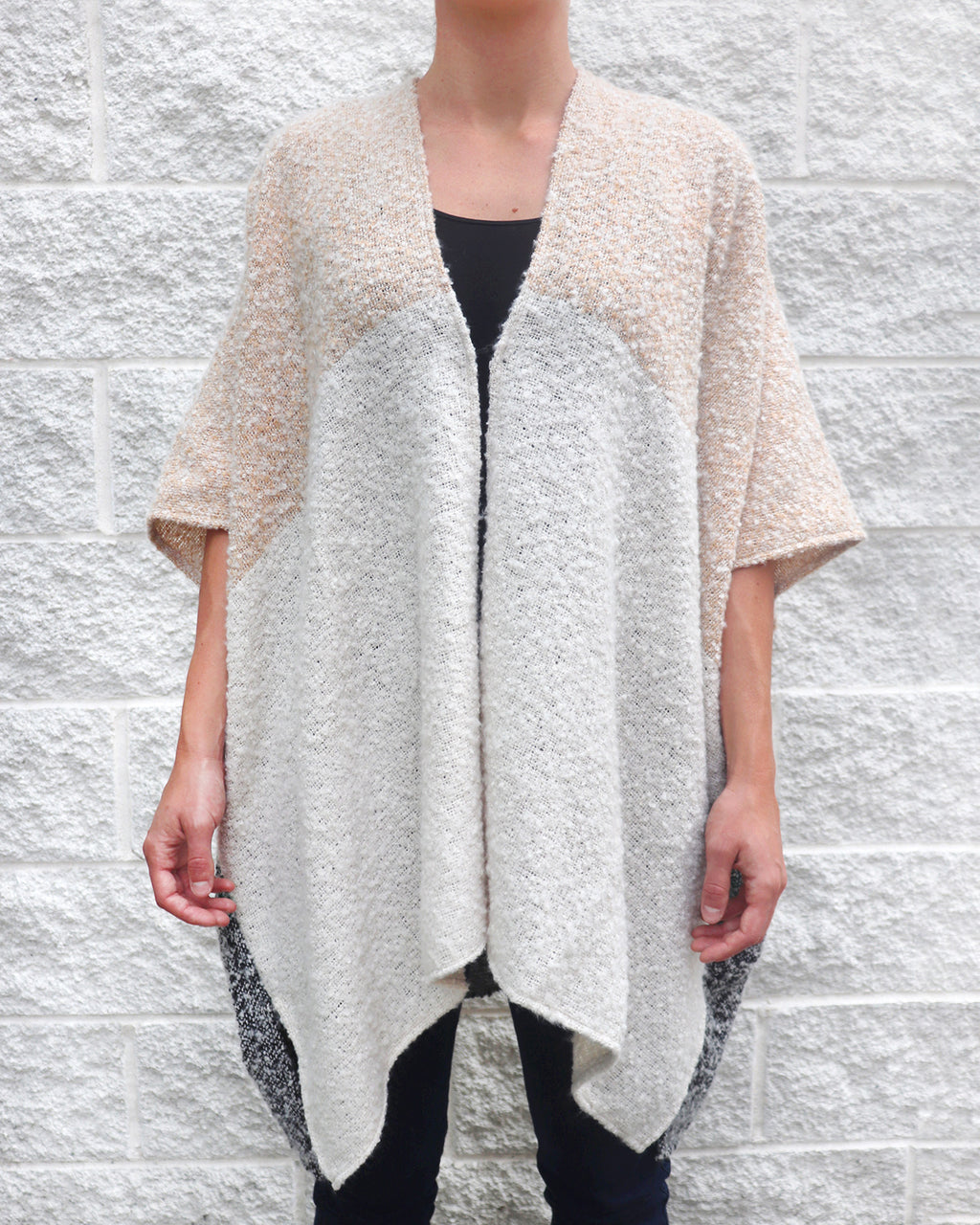 Neutral Tan Beige Grey Color Block Knit Poncho Shawl Sweater Savvy Chic Boutique Cleveland Ohio