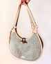 Coral Tan Beige Cream Woven Hobo Faux Leather Handbag Purse