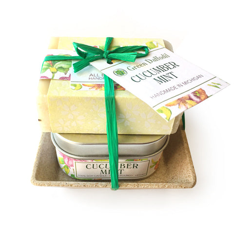 Cucumber Scented Soap Candle Gift Set