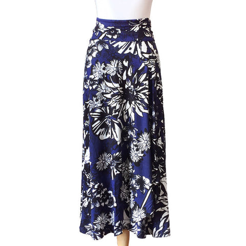Navy Graphic Floral Print Maxi Skirt