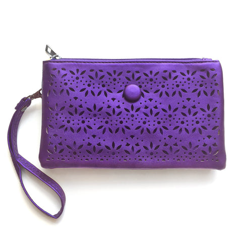 Metallic Purple Laser Cut Cross Body Bag