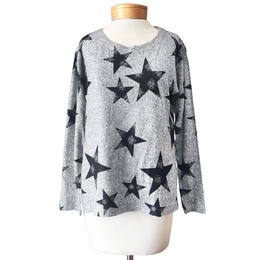 Charcoal Grey Black Star Print Sweater