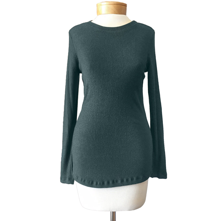 Hunter Green Soft Ribbed Crew Neck Slim Sweater