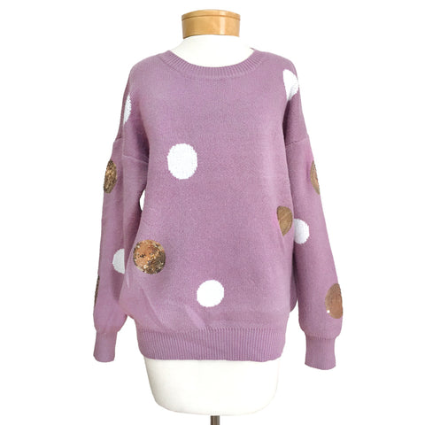 Purple Knit White Gold Sequin Polka Dot Sweater