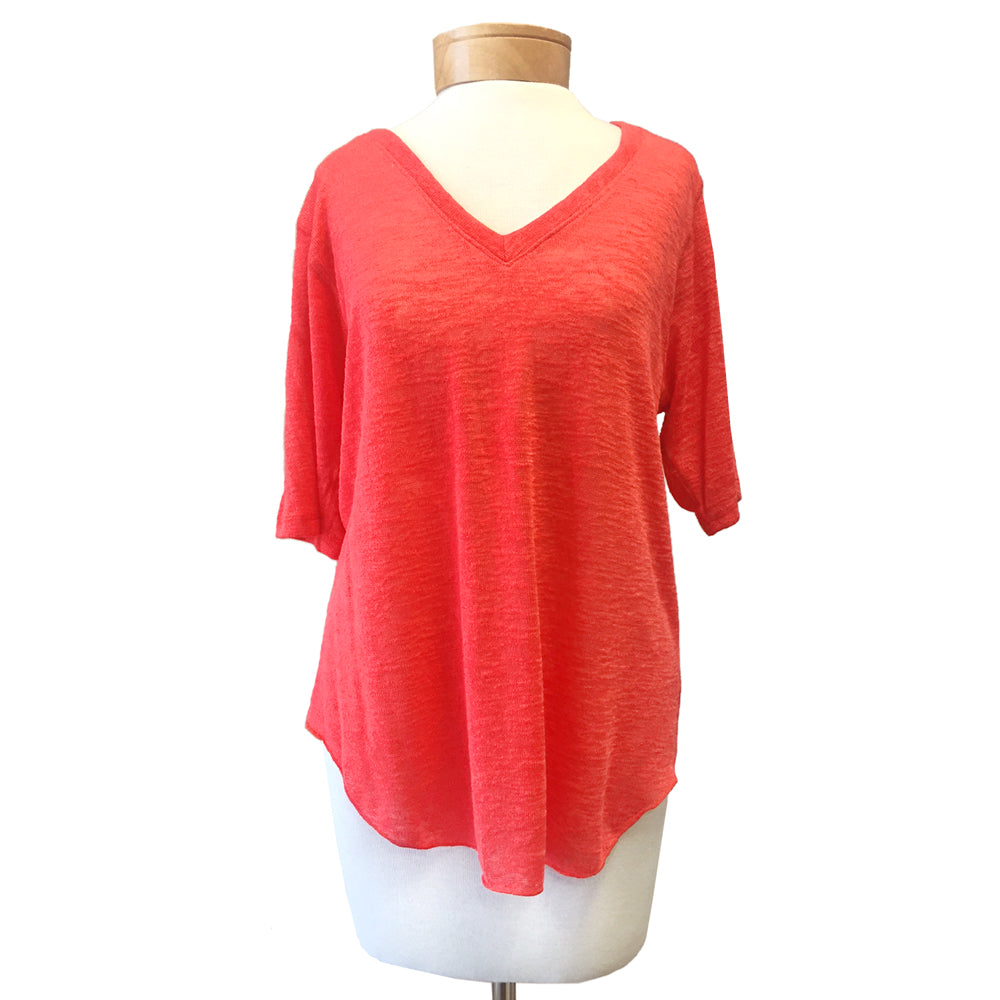 Nally & Millie Coral V- Neck Half Sleeve Tee