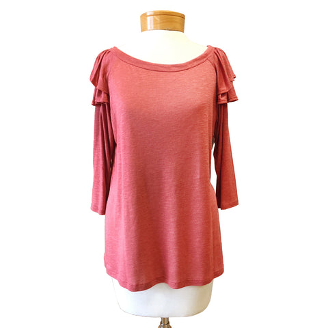 Le Lis Red Brick Ruffle Sleeve Top Shirt Savvy Chic Boutique