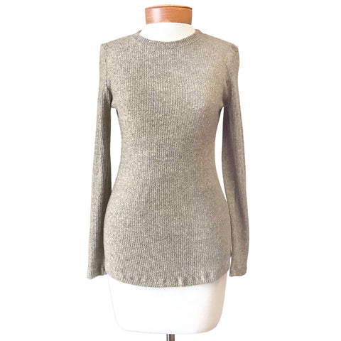 Nally & Millie Taupe Knit Fitted Ribbed Long Sleeve Sweater Top Savvy Chic Boutique Cleveland Ohio