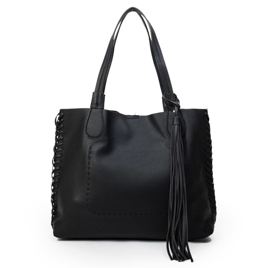 Jen & Co Black Woven Tassel Vegan Faux-Leather Handbag Savvy Chic Boutique Cleveland Ohio