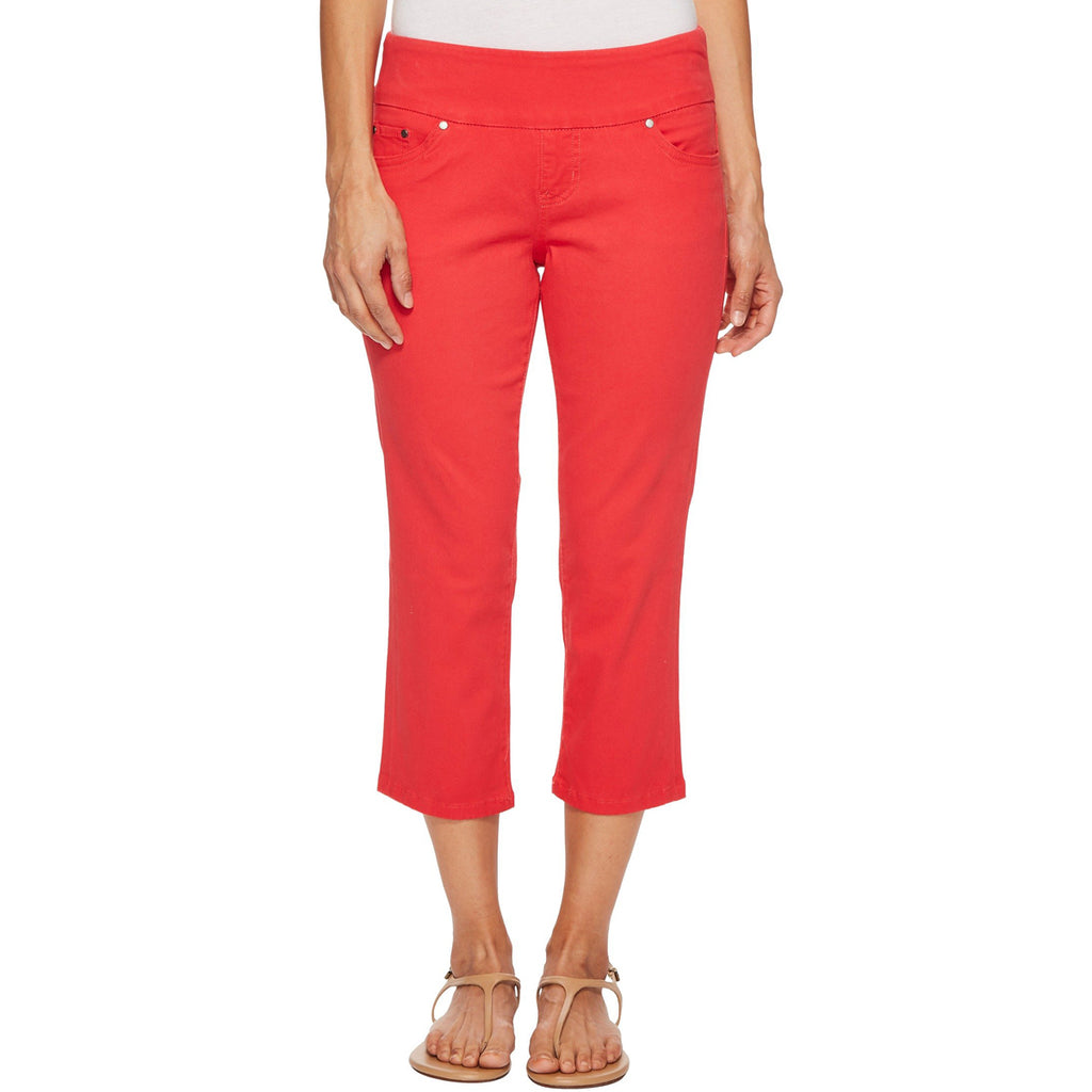 Jag Jeans Peri Cropped Pull On Straight Leg Red Hibiscus Twill Pant Savvy Chic Boutique Cleveland Ohio
